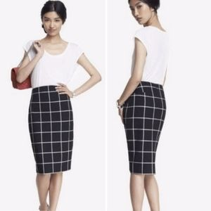 Express Windowpane Pencil Skirt